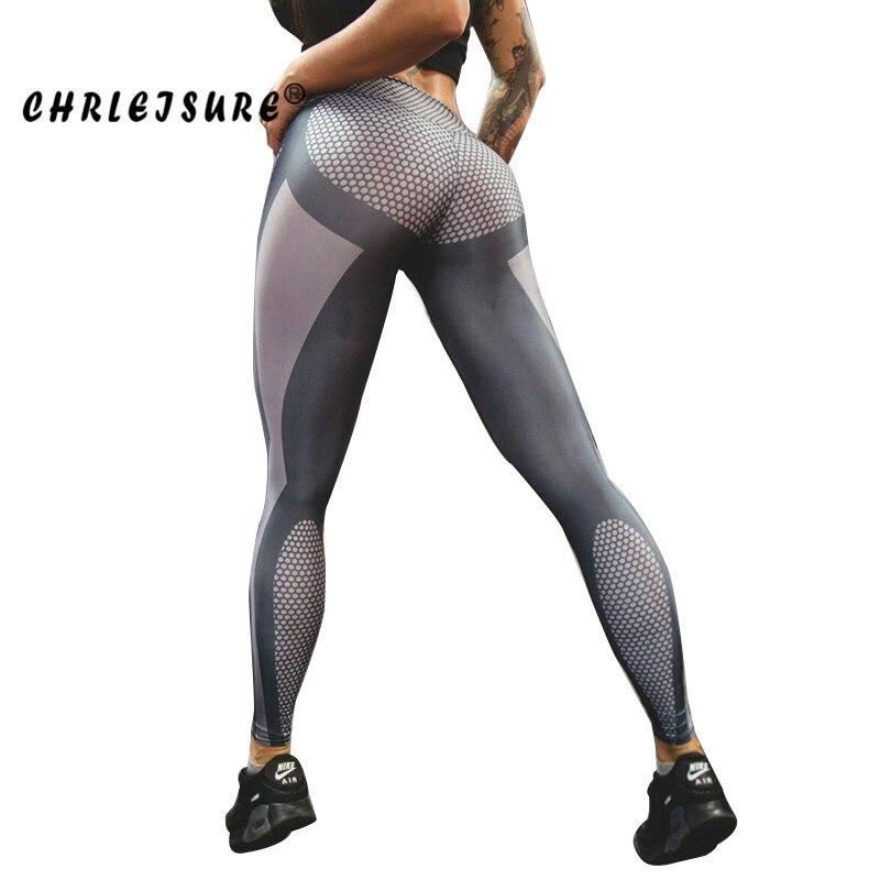 CHRLEISURE S-4XL Sexy Legging Women 3D digital printing Pants Polyester breathable hip casual Standard high waist Women Leggings Лосины