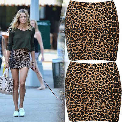 b4cf6b162a ... Summer Womens Sexy Animal Leopard Print Pencil Ladies Bodycon mini- skirts ...
