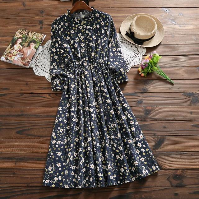 Autumn Winter Vintage Dress New Women Long Sleeve Floral Printed Corduroy Dresses Female Navy Blue Ruffled Collar Vestidos S-XL