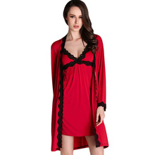 Women Lace Pajama Set Strap Dress Sleepwear Robes Set Twinset Nightwear Black Red Patchwork Full Sleeve Satin Silk Nightwear