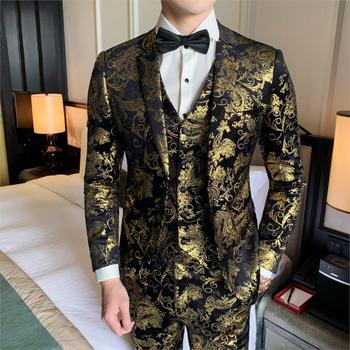 Men's Suits Notch Lapel Polyester Gold  Floral Suits  Luxury Black And Gold Wedding Suit For Club Party Prom Costume 3 Pieces