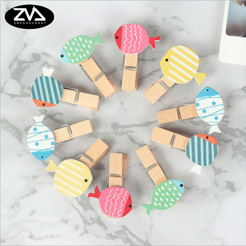 10pcs lot Color Tropical fish wooden clip Photo Paper Postcard Craft DIY decoration Clips Office Binding Supplies in Clips from Office School Supplies