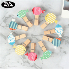 10pcs/lot Color Tropical fish wooden clip Photo Paper Postcard Craft DIY decoration Clips Office Binding Supplies 10pcs lot creative original eco home decoration wooden clip photo paper craft clips party decoration clips