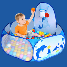 цена на Cartoon Dolphin Pattern Baby Ball Pit Foldable Washable Toy Pool Children Hexagon Ocean Game Play Tent House baby playing pool