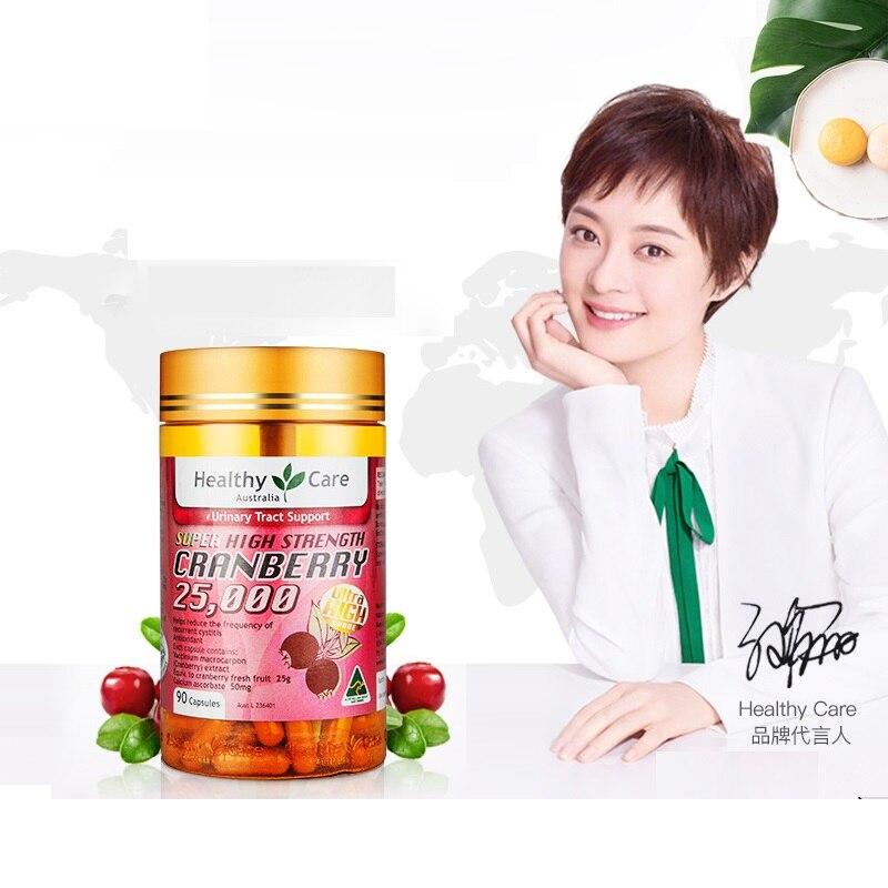 Cuidado saludable Cranberry 25000 90 mg cápsulas soporte para la salud del tracto urinario alivio sintomático cistitis repetida micción frecuente-in Protector solar de cuerpo from Belleza y salud    1