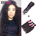 Malaysian Virgin Hair With Closure 5 Pcs/lot Malaysian Natural Wave Curly Weave Human Hair Malaysian Curly Hair Bundles