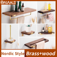 Bathroom Towel Holder Brass Wood Towel Rack Hanging Holder Wall Mounted Bathroom Shelf Organizer Toilet Paper Holder with Shelf high quality bathroom towel holder with ceramic base brass towel rack 60cm towel shelf