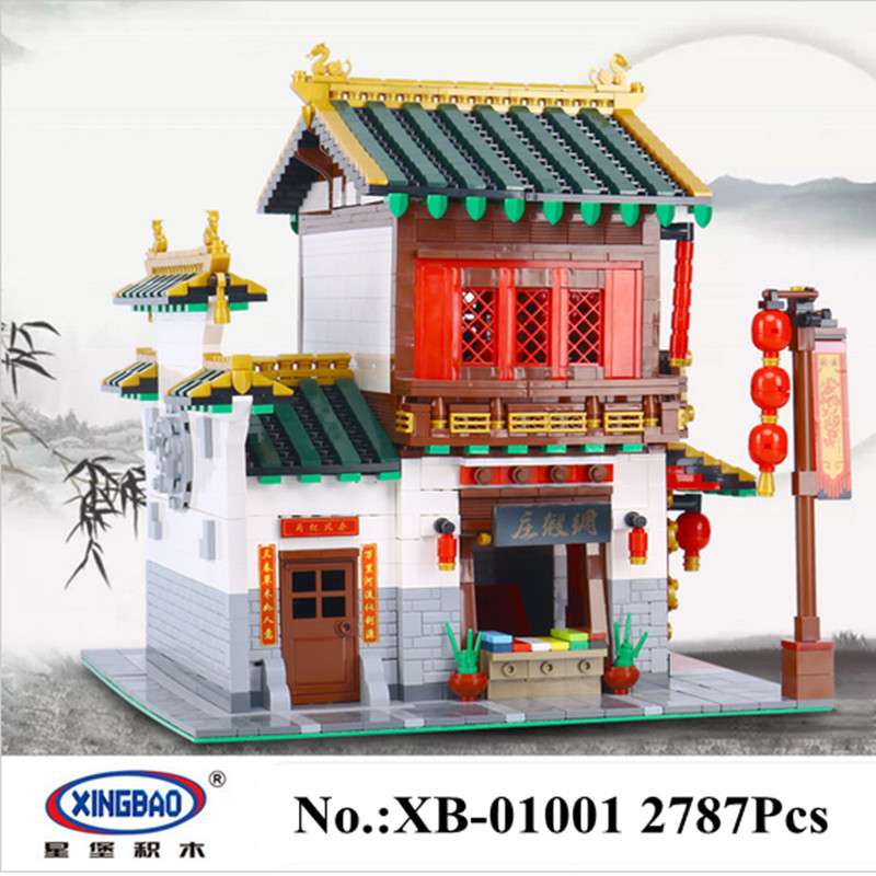 IN STOCK XingBao 01001 2787Pcs Creative Chinese Style The Chinese Silk and Satin Store Educational Building