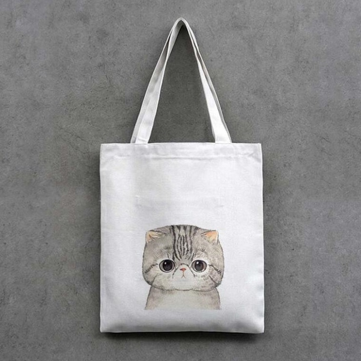 1Pc Canvas Shopping Bag Cat Supermarket Trolley Bags Large Handbag Reusable Tote Bag Simple Eco Bag Handbags