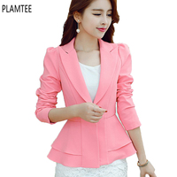 Fashion 4 Colors Womens Blazers Slim Long Sleeved Office Ladies Brazzers New Spring Plus Size S