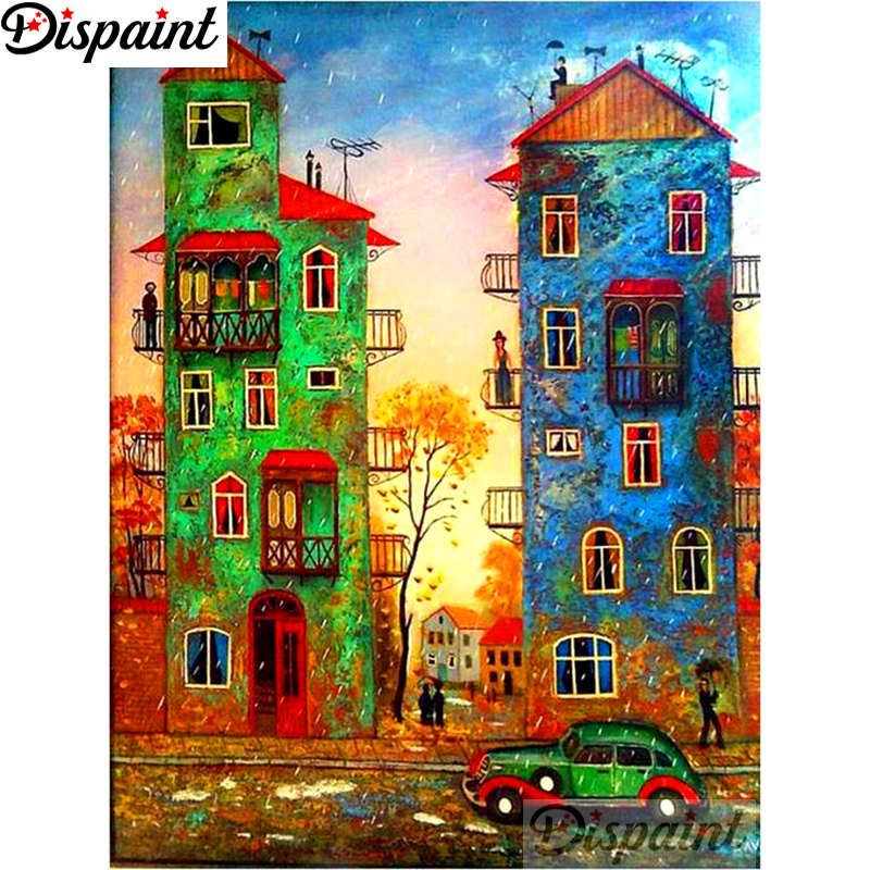 Dispaint Car house Diamond Painting 5D Full Square/Round Drill Home Decor DIY Embroidery Cross Stitch A10938
