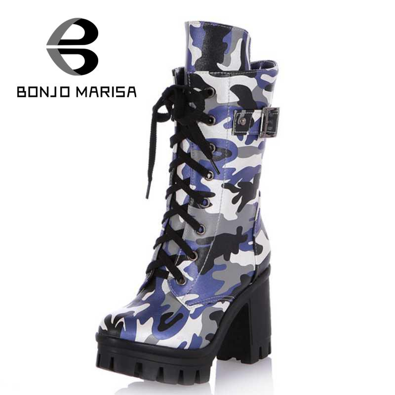 Fashion round toe camouflage print high thick heels lace up platform mid calf boots sale women girls spring autumn shoes