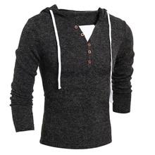 Осень мужская V-образным Вырезом с длинными рукавами с капюшоном свитер мужчин Тонкий вскользь мужская одежда мода свитер свитер хеджирования