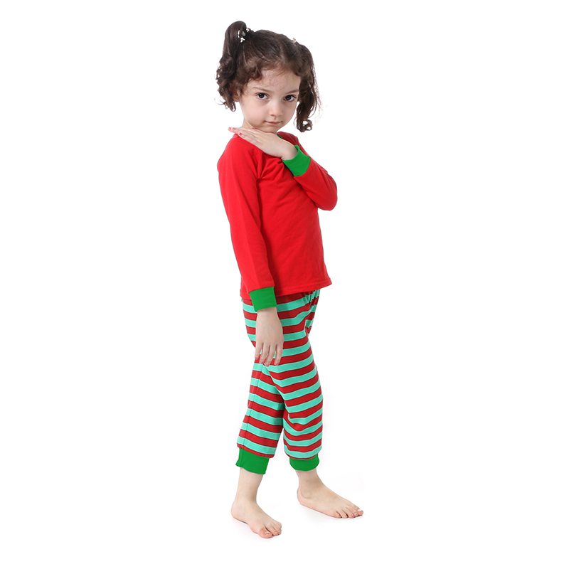 Kaiya Angel Christmas Girls Boutique Outfits Christmas Clothing Set Red Green Green Stripe Shirt Leggings Suit 2 Pcs Pajamas 3
