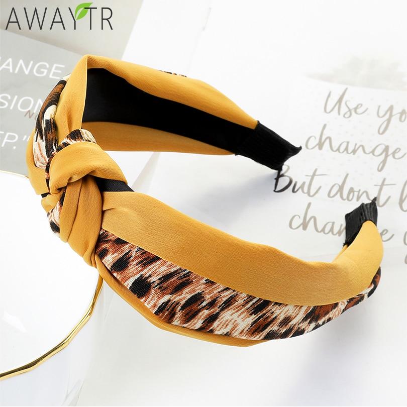 AWAYTR Leopard Hairbands Girls Print Women Fashion Headbands Fabric Knotted Headband Hair Hoop Headwear Hair Accessories