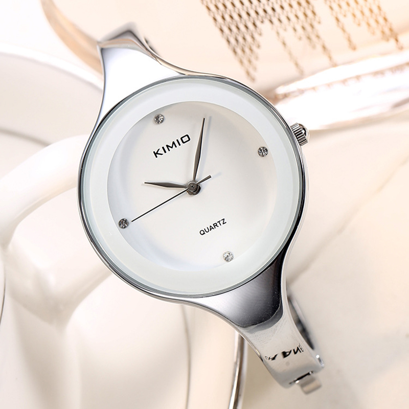 KIMIO Women Bracelet Watches Stainless Steel Ladies Quartz Watches Simple Crystal Wristwatch Clock Female Dress montre femme deepshell full crystal diamond women stainless steel bracelet quartz gold watch female ladies dress wrist watches montre femme