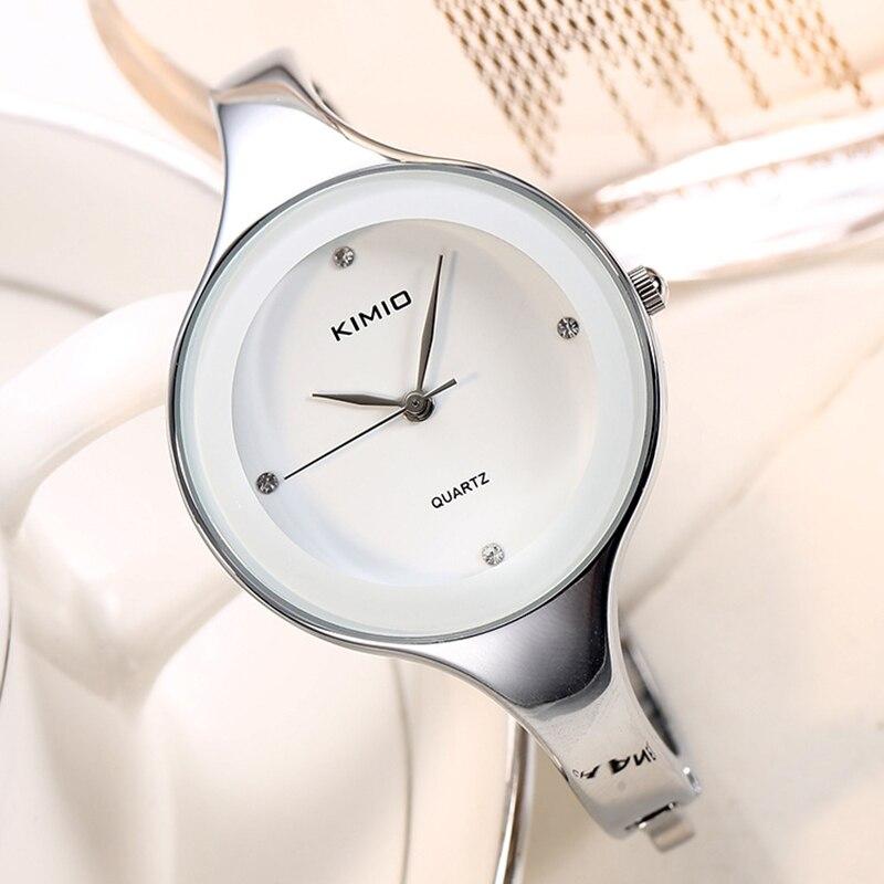 KIMIO Women Bracelet Watches Stainless Steel Ladies Quartz Watches Simple Crystal Wristwatch Clock Female Dress montre femme