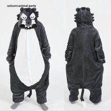 Kigurumi Halloween Animal Wolf Onesies Pajama Set Adult Pyjamas Sleepsuit Sleepwear Unisex Gray Cosplay Costumes