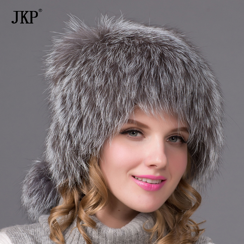 JKP women's Natural Silver fox fur hat for autumn winter warm women knitted fox fur cap Free Shipping