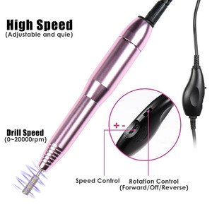 Image 2 - Mini Electric Nail Art Drill Set Nail File Manicure Machine Pedicure Polish Kit Handheld Nail Art Drill Machine With Drill Bits