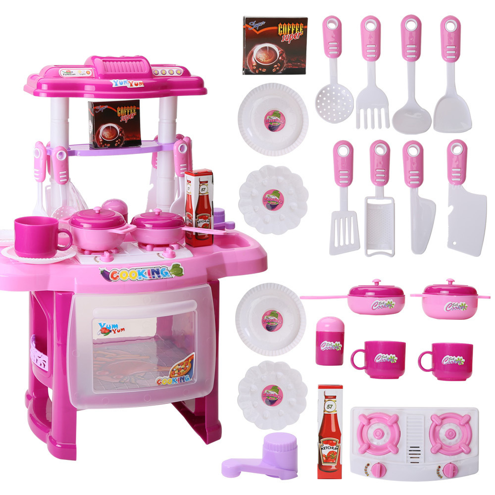 6fc0c867756 22pcs set DIY Cookware Set Kitchen Ware Children Cooking Pretend Play Toys  with Music Light for Kids