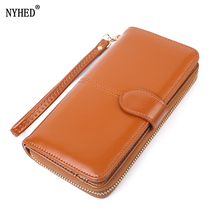 NYHED Vintage Women Long Wallet Fashion Oil Pu Purses Girls New Phone