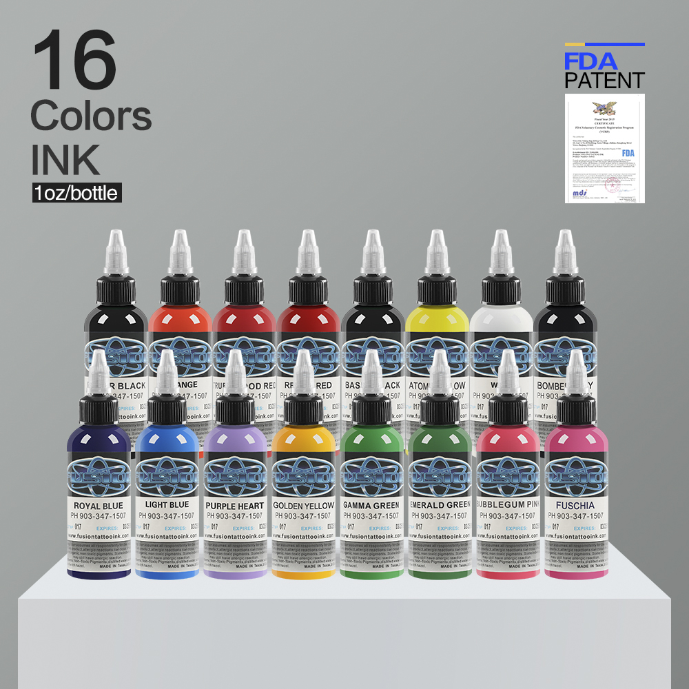 Fusion Tattoo Ink 16 kleuren set 1 oz 30ml / fles Tattoo-inkten Pigment Kit voor 3D-make-up schoonheid huid body art Permanente make-up