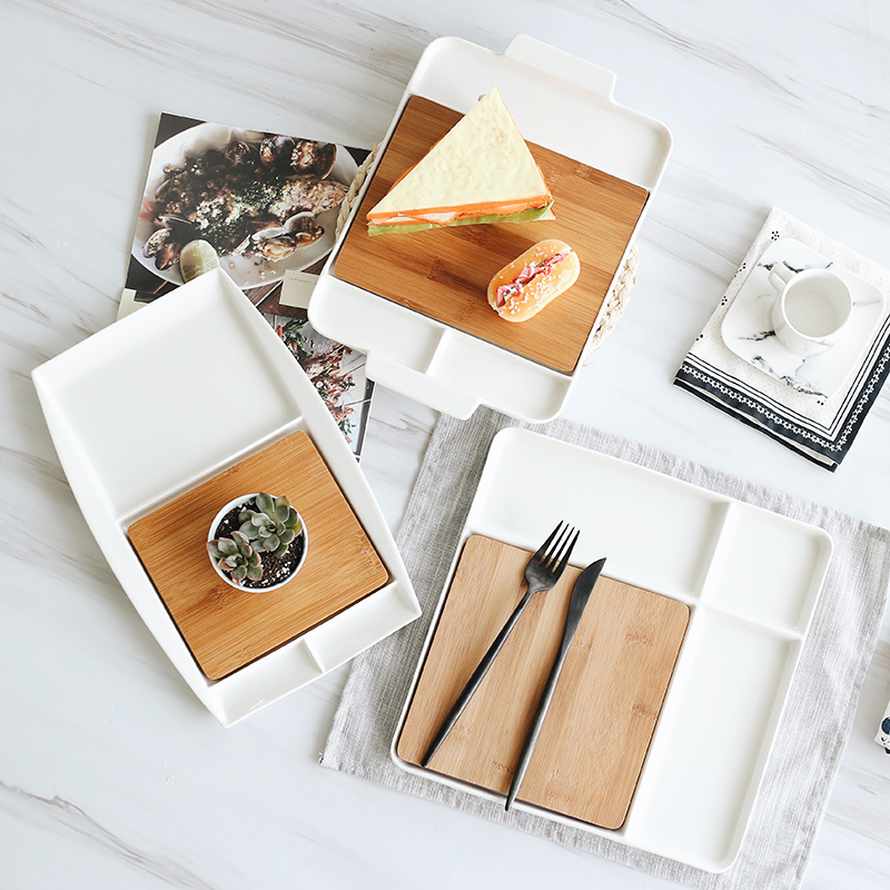 Ceramic Serving Trays with Bamboo Cutting Boards