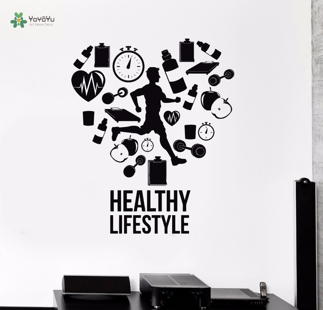 YOYOYU Wall Decal Vinyl Wall Decoration Healthy Lifestyle Run Runner Home Decor  Sticker Gym Cardio Sport