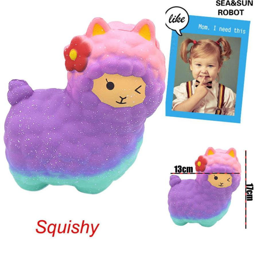 Big colorful Novelty Toy Anti-Stress Pu Jumbo Sheep Squishy Cute Alpaca Galaxy Super Slow Rising Scented Fun Starry sheep gift