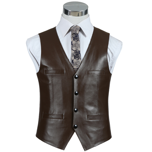 Mens Brown Leather Vest Black Genuine Leather Slim Fit Business Autumn Winter Clothing Classic Real Sheepskin Waistcoat