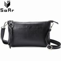 SoAr Genuine Leather Women Messenger Bags Cute Flap Female Hot Sale Tassel Shoulder Bags Luxury Brands