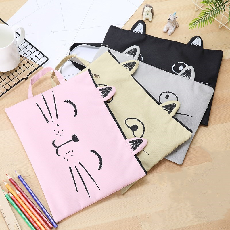 1pc Cute Cat Fabric File Folder Document Bag A4 Canvas Bag Stationary Paper Organizer Bag Office And School Supplies