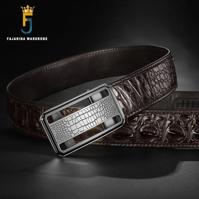 FAJARINA Luxury Men's Real Crocodile Skin Belts Exquisite Stainless Steel Smooth Buckle Business Belt for Men 3.3cm Wide CROD003 1