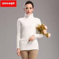 zocept Fashion Mink Cashmere Turtleneck Sweaters Women Winter Soft Warm Solid Color Knitted Full Sleeve Slim Pullovers Clothing