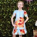 Robe Enfant Meninas do Vestido do Verão 2017 Da Marca Vestido de Princesa Sereia Crianças Traje Da Flor Meninas Vestido de Festa De Casamento Roupa Dos Miúdos