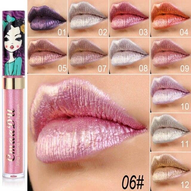 Cmaadu brillo de labios belleza chica diamante brillo labial impermeable de larga duración 12 colores oro flash líquido lápiz labial