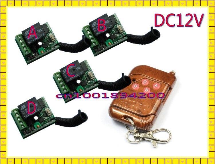 DC12V 1CH Беспроводной переключатель мини RF 4-мя приемниками и 1 передатчик Переключить Jog Lactched Скорректированная добавить контроллер свободно для SMD СВЕТОДИОДНЫЙ доступа