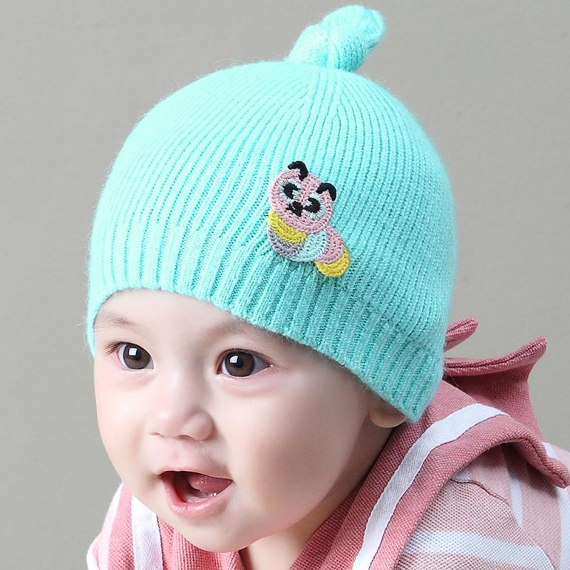 Baby Winter Warm Hats Knitted Animal Knot Wool Winter Hat for Children Brand Candy Color Cap Lovely Baby Beanies Accessories