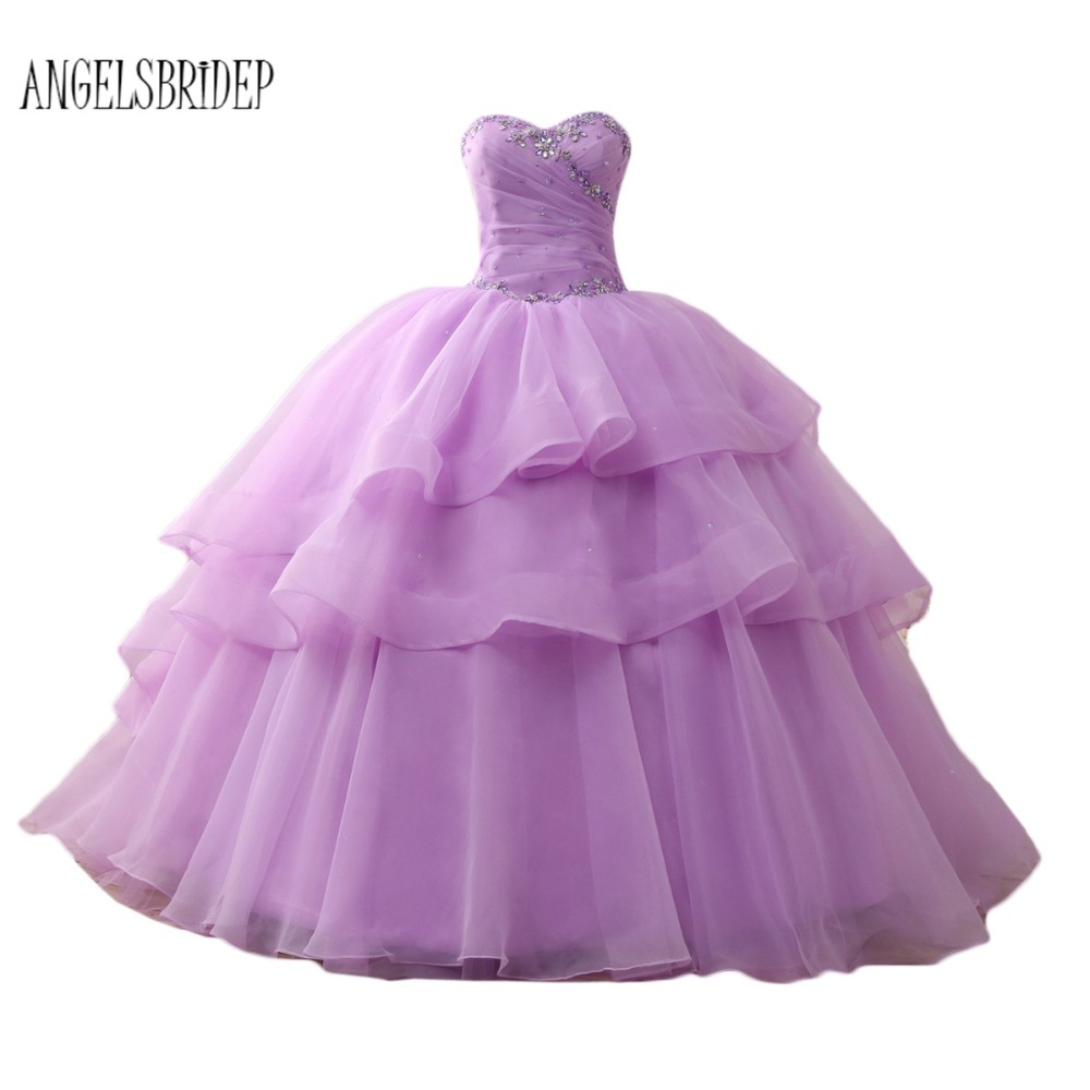 ANGELSBRIDEP Fast Shipping Quinceanera Dresses Strapless Organza Light Purple Ball Gown Sweet 16 Dresses Vestidos De 15 Anos