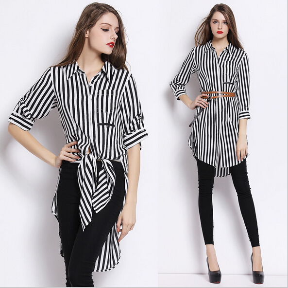 349e2bbff4b2a Women T shirt Dress 2015 Summer Black White striped three-quarter Sleeve  Silk Blouse Silk fibers Irregular Short Dresses A22