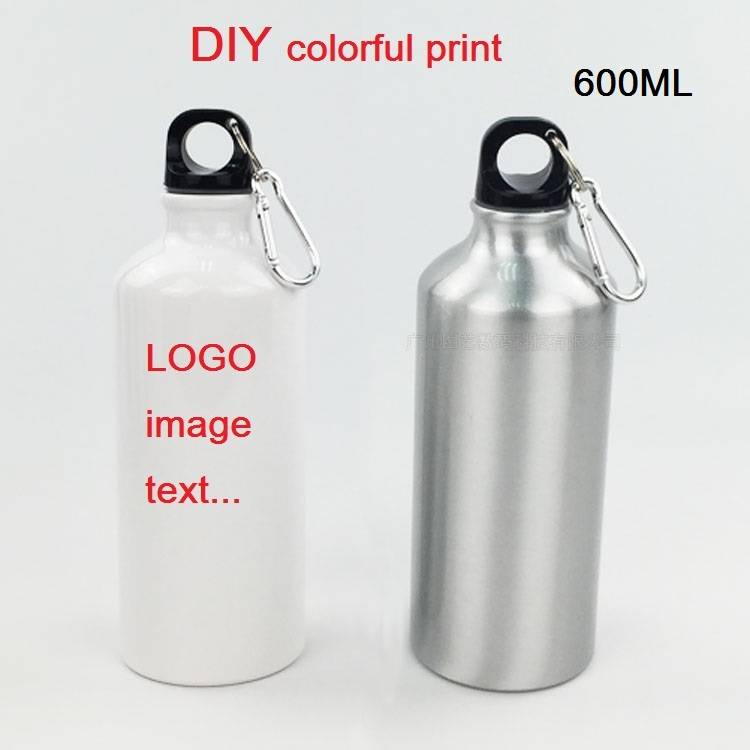 600ML Bottle DIY Customize Colorful Print LOGO Photo For Travel Sport Easy Take Bike With Hook For Bag Aluminium Portable MAZWEI