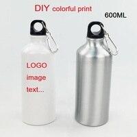 600 мл бутылка DIY Настроить яркая печать логотипов фото для путешествий Спорт легко принять велосипед с крючком сумка алюминия Портативный ...