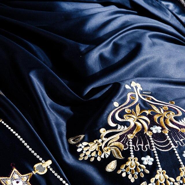 1000TC Egyptian cotton Blue Purple Bedding Set  Luxury Queen King size Bed sheet set Embroidery Duvet cover parure de lit adulte 6
