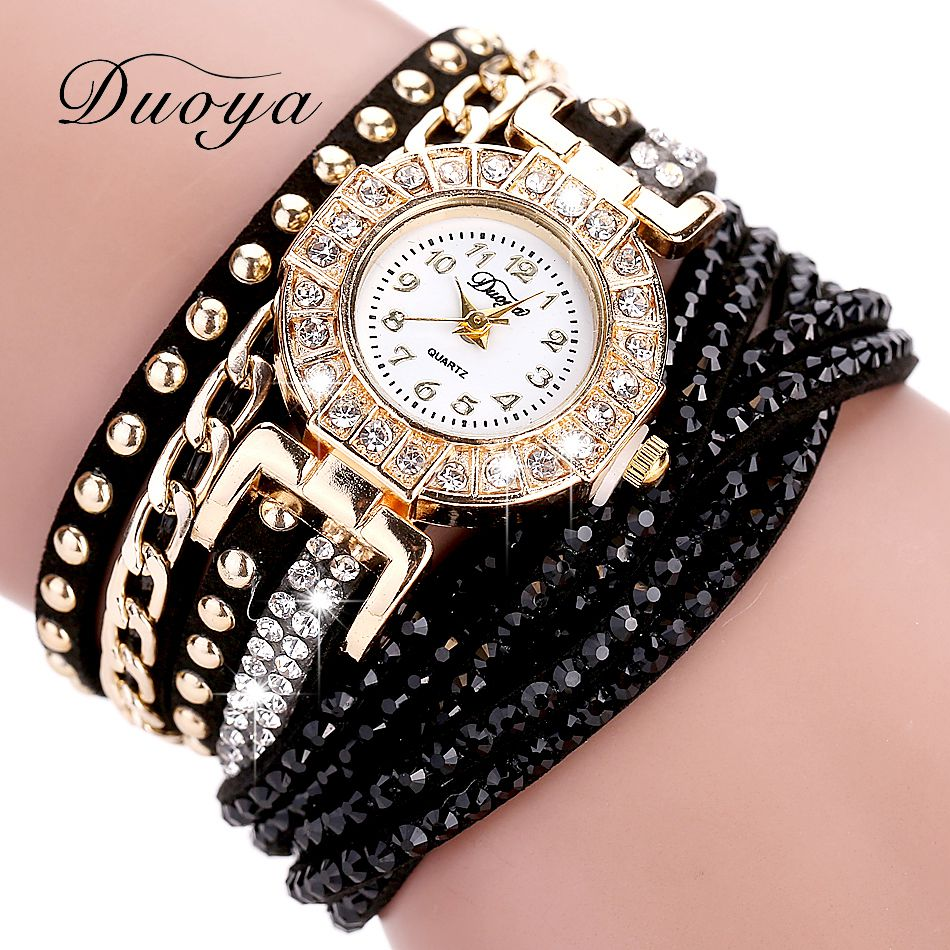 Duoya Watch Women Brand Luxury Gold Fashion Crystal Rhinestone Bracelet Women Dress Watches Ladies Quartz Wristwatches duoya brand new arrival women gold leather wrist watches for women dress bracelet luxury crystal vintage quartz watch clock 2018