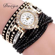 Duoya Часы Женские бренд Роскошные Золотые Модные Часы с Кристаллами Rhinestone Браслет Женские Часы Кварцевые Наручные Часы