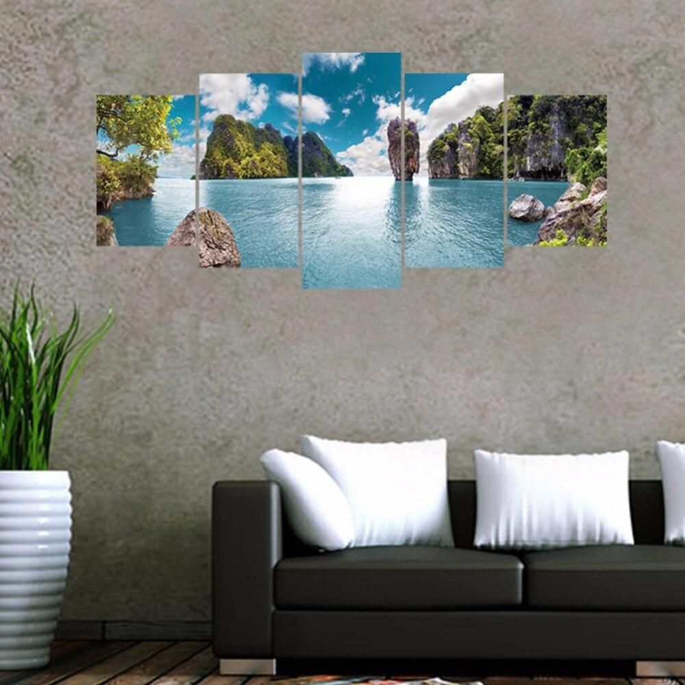 5 Teile/satz 3D Thailand Meer Insel Kombination Wandaufkleber Steuern Dekor  Schlafzimmer Sofa Wand Poster Selbstklebende DIY PVC Kunstwand