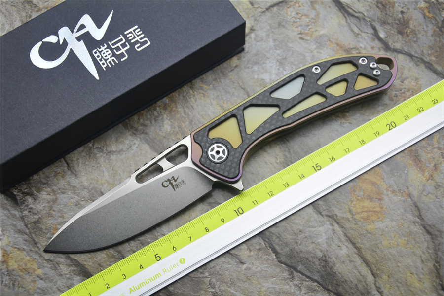 CH3509 Folding knife D2 blade ceramic ball bearing washer TC4& CF handle outdoor camping hunting pocket knife EDC tools y start twosun folding knife d2 tanto blade ball bearing washer titanium handle outdoor camping hunting pocket knife edc tools