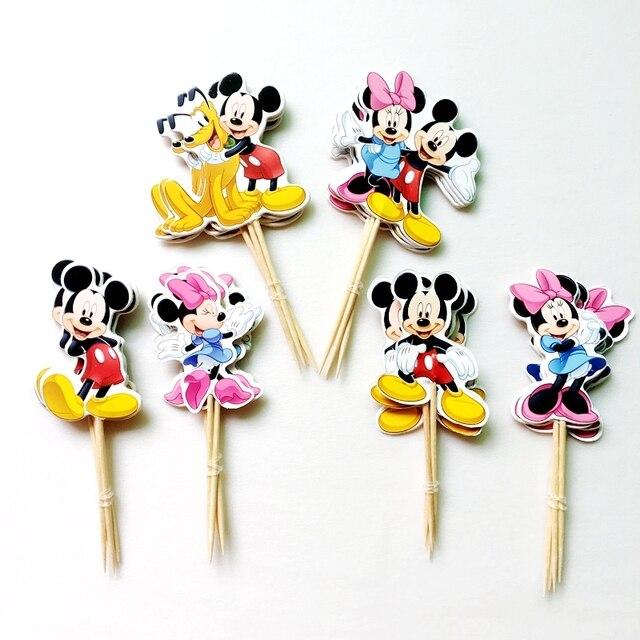 NEUE 72 Stucke Cartoon Hund Mickey Mouse Minnie Kuchendeckel Pick Partybedarf Kids Birthday Party Hochzeit Kuchen