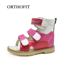 71f3a3ce7f970 Russe à la mode enfants filles d été fantaisie sandales naturel en cuir  rouge chaussures orthopédiques chaussures pour enfants